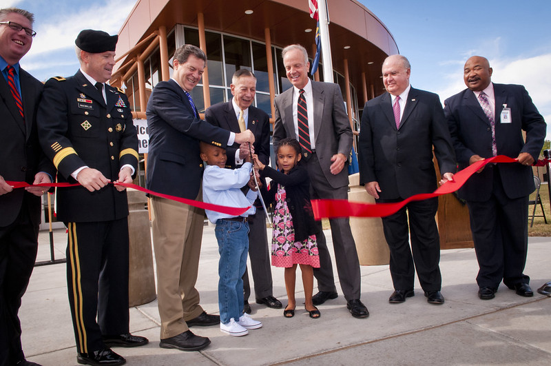 ribbon cutting for school in Fort Riley Kansas