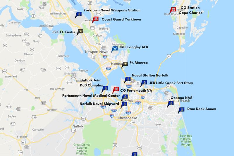 Military bases in the Hampton Roads area of Virginia.